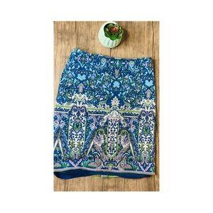Talbots | paisley lined pencil skirt • 4p